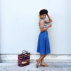 @asiyami_gold in our women's kilim tote and loafers. Show us how you style your #ResIpsa!