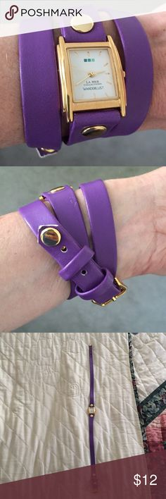 """La Mer Purple Triple-Wrap Watch  I love love love LaMer watches! This wraps around your wrist 3 times. The hardware is gold. 6 holes to adjust for the perfect fit. And 2 bands hold it firmly in place. Needs a battery, so price reflects that need! 22"""" length. La Mer Accessories Watches"""
