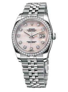 Rolex Ladies 31mm Datejust President with bezel and case lugs set diamonds.