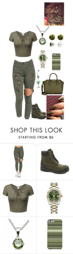 """Untitled #2813"" by alize-roshaun-sims ❤ liked on Polyvore featuring Timberland, Rolex, Fantasy Jewelry Box and Givenchy"