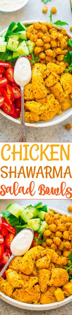Easy Chicken Shawarma Salad Bowls - An EASY version of chicken shawarma that's fast, HEALTHY, and delish!! Fragrant spices, juicy lemony chicken, fresh veggies, and a tangy Greek-yogurt sauce that's cooling and PERFECT!!