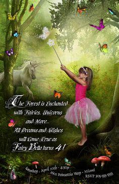 Fairy Bella Birthday Invitation, Unicorn, butterflies, toad stools. $25.00, via Etsy.