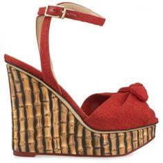 "Charlotte Olympia ""Miranda 110"" Wedge Sandal (Red/Bamboo) Hirshleifers ($895) ❤ liked on Polyvore"