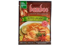 Bamboe Indonesian Yellow Chicken Soup Instant Seasoning (Bumbu Instan Soto Ayam) in 1.4oz Sachet. Soto Ayam is a yellow spicy chicken soup with vermicelli, boiled eggs, and potato. An instant way to a conventional Indonesian Chicken Soup with noodles. Bamboe Instant Spices is in a...