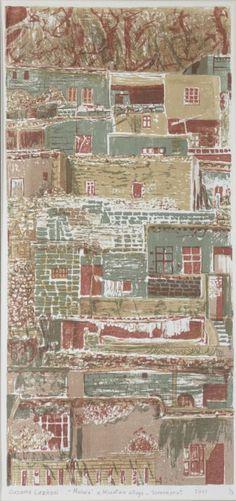 Ousama Lazkani, The Mountain Village, Print Mountain Village, Contemporary Landscape, Printmaking, Vintage World Maps, Landscapes, Explore, Artist, Graphic Art, Paisajes