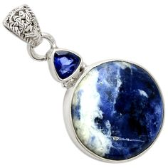 Sodalite 925 Sterling Silver Pendant Jewelry 8138P - JJDesignerJewelry