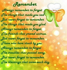 Irish poem to remember:))
