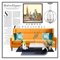 """Modern Interior"" by hastypudding ❤ liked on Polyvore featuring interior, interiors, interior design, home, home decor, interior decorating, Gus* Modern, Universal Lighting and Decor, Dot & Bo and Arteriors"