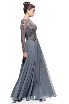 Make an entrance with this beautiful Bateau neck long Chiffon Gown.. Featuring hand beading and embroidery work on bodice. Lace overlay on sweetheart neckline,