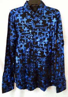 COWGIRL TUFF shirt Never Give up Barrel Racer NWT Western Blue CROSS NWT XL #COWGIRLTUFF #Western