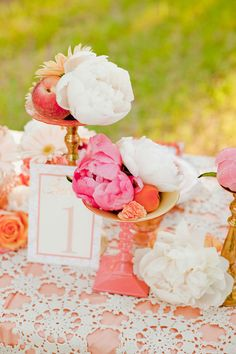Pink peony table numbers.
