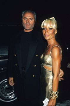 Gianni Versace with his younger sister Donatella Versace (after plastic surgery)