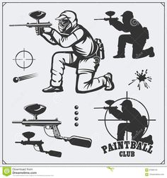 Set Of Paintball Club Labels, Emblems, Symbols, Icons And Design Elements. Shooting Man And Paintball Equipment. Stock Vector - Illustration of logo, element: 87695745
