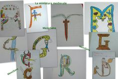 Drawing the own initial: medieval miniature in the classroom Art Lessons Elementary, Lessons For Kids, Castles Topic, School Organisation, Italian Lessons, Middle Ages, Middle School, Illumination Art, Scottish Castles