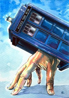 The Doctor in the Tardis Watercolor