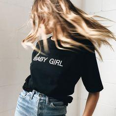 BABY GIRL Casual Black T shirt Women