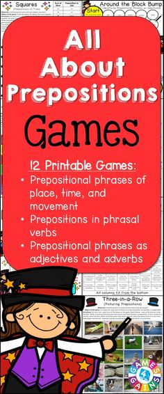 Looking for fun ways to practice prepositions and prepositional phrases? This Prepositions Games packet contains 12 fun and engaging printable board games to help students to practice identifying and using prepositions and prepositional phrases.