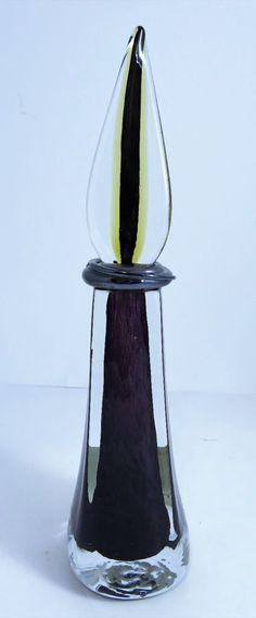 "Fusion Z Czech Bohemian Art Glass 13"" Perfume Bottle Dauber Signed Scarborough #FusionZ #Contemporary #FusionZ"