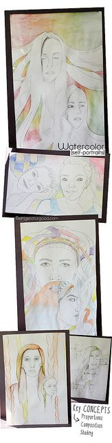 Explore portraiture profile and frontal view in watercolour