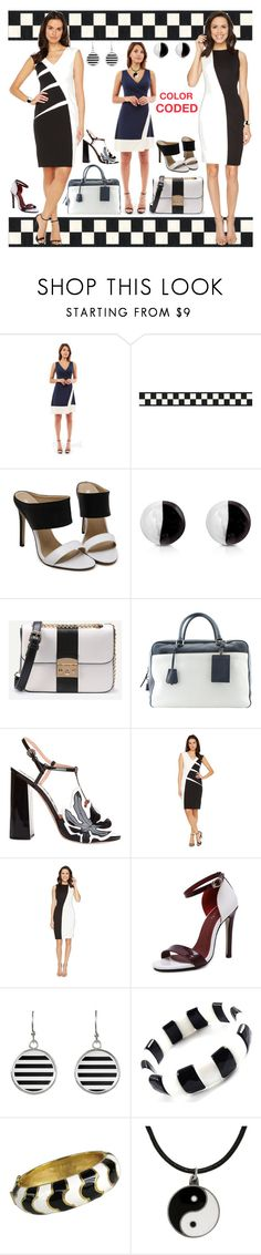 """Black & White Color Block!"" by bevmardesigns ❤ liked on Polyvore featuring Antica Murrina, WithChic, Prada, Rochas, Adrianna Papell, Calvin Klein, Ciner, Carolina Glamour Collection, colorblock and women"