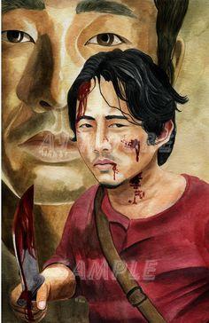 Series 1 Walking Dead Watercolors all works painted by artist AJ Moore