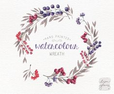 Watercolor wreath: PNG floral clip art / Wedding invitation clip art / berries / commercial use / Lilac and crimson CM0084b by LisaGlanzGraphics on Etsy