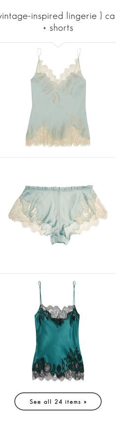 """""""{ vintage-inspired lingerie } cami + shorts"""" by beyondthesea ❤ liked on Polyvore featuring intimates, camis, lingerie, tops, pajamas, underwear, sky blue, lace trim cami, silk satin camisole and carine gilson"""