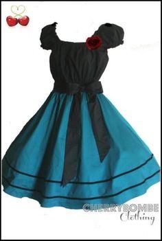Vintage-50s-TEAL-Swing-Dress-PLUS-Sz-24-26-28-Rockabilly-Retro-PinUp-Wedding