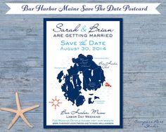 Bar Harbor Maine Wedding Map, Wedding Invitation, Destination Wedding, Elopement Announcement, Save The Date, Elope, Reception, Party Invite