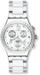 Swatch YCS511GC Dreamwhite Chrono White Dial Glitz Silver Steel Unisex Watch NEW
