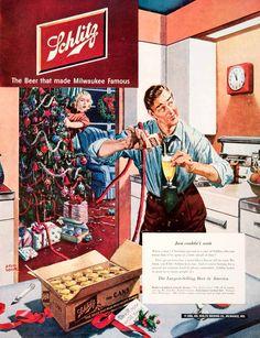 1950 Ad Joseph Schlitz Beer Brewing Milwaukee Wisconsin Christmas Albert Dorne