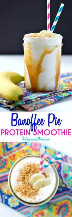 For only 200 calories you can enjoy this cool, creamy, and healthy Banoffee Pie Protein Smoothie! It's a decadent-tasting breakfast or snack that blends banana, caramel, and a graham cracker crust in one delicious clean eating recipe!