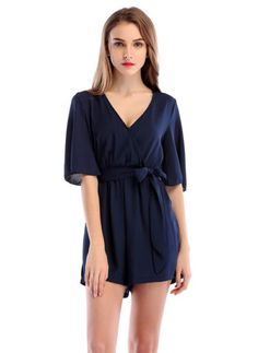 bc15138d5ae Hualong Sexy Deep V Chiffon Short Sleeve Romper  fashion  style