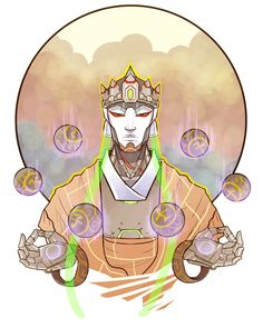 """finchworks: """"I found out Zenyatta's VA is going to a local con, so I stayed up late last night to draw this for him! I hope he likes it, I'm so nervous aaaaahhh! Fanart Overwatch, Overwatch Genji, Overwatch Comic, Overwatch Fan Art, Overwatch Zenyatta, Old Memes, Epic Art, Ancient Symbols, Character Design References"""