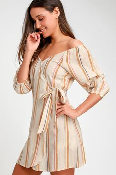 4d4f36ecb28b Lulus | Best Dressed Beige Striped Off-the-Shoulder Wrap Dress | Size  X-Small