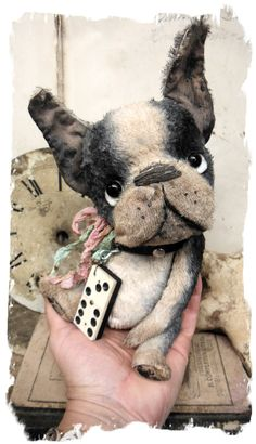 """One of a Kind """"Whose Little Dog Are You  """" -  Old Chubby Boston Terrier Dog handmade by Wendy Meagher of Whendi's Bears - An Original ONE OF A KIND DESIGN                                  ***Approx.  8"""" (9"""" to tip of ears) -  Antique Style hand tinted Boston Terrier Dawg with vintage leather collar, vintage ribbons, antique domino charm that dangles from chain    If you like antique toys then you won't be disappointed in t..."""