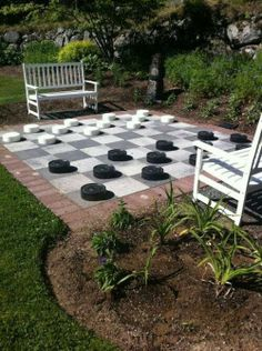 Checker board patio. The kids would love this.