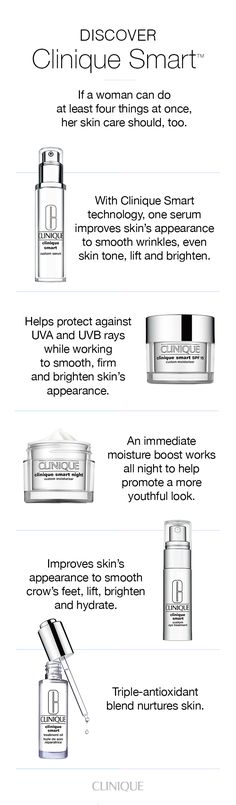 Multitasking skin care for a variety of concerns: Clinique Smart Serum: Visibly erases lines and wrinkles, evens skin tone, firms and brightens. Clinique Smart SPF 15 Moisturizer: Helps product against UVA and UVB rays. Clinique Smart Night Moisturizer: An immediate moisture boost works all night. Clinique Smart Eye Treatment: Smooth the look of crow's feet, visibly brighten and firm. Clinique Smart Treatment Oil: Nurtures skin's capacity for repair.