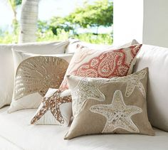 Sequin Coastal Embroidered Pillow Covers   Pottery Barn
