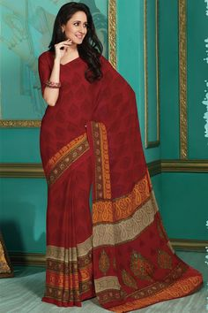 Red Color Casual Wear Printed Saree