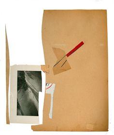 "Collage entitled, Tracked, 17"" x14"" assembled vintage paper and ephemera on paper (c) Lita Kenyon 2014"