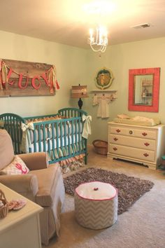 Love the name sign, the layout, the blessing dress hung up and the dresser/ changing table. Just needs to be in grey  yellow.