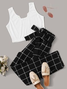 Shop Solid Tank & Plaid Paperbag Waist Belted Pants Set at ROMWE, discover more fashion styles online. Cute Lazy Outfits, Crop Top Outfits, Girly Outfits, Pretty Outfits, Stylish Outfits, Girls Fashion Clothes, Teen Fashion Outfits, Outfits For Teens, Fashion Ideas