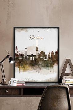 Berlin skyline, Berlin poster, Berlin print, Travel poster, Germany, Deutschland, Wall art, City prints, Home Decor, Watercolor iPrintPoster