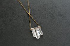 Quartz points w/ brass chain and clasp