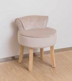 Natural Chenille Vanity Stool Natural Legs Bedroom Dressing Chair in Home, Furniture & DIY, Furniture, Stools & Breakfast Bars Dressing Table With Chair, Dressing Table With Stool, Dressing Tables, Stool Chair, Chair Pads, Home Decor Furniture, Furniture Design, Farmhouse Stools, Vanity Room