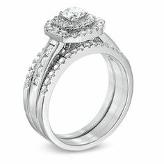 1 CT. T.W. Diamond Octagonal Double Frame Bridal Set in 10K White Gold | Engagement Rings | Wedding | Zales