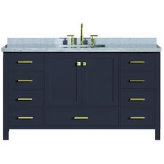 ⚜️ Add charm to your home with ARIEL Cambridge Inch Single Rectangular Sink Solid Wood Midnight Blue Bathroom Vanity Cabinet with Inch Edge White Carrara Marble Countertop from Blue Vanity, Single Sink Vanity, Single Sink Bathroom Vanity, Bathroom Vanity Cabinets, Vanity Sink, Bath Vanities, Modern Bathroom, Mirror Bathroom, Blue Bathrooms
