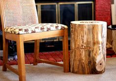 Wood Stump Table Tree Stump Table Reclaimed wood Side Table Made in the USA Reclaimed Wood Side Table, Tree Stump Table, Wood Stumps, Rustic Cabin Decor, Outdoor Furniture, Outdoor Decor, Woodworking Plans, Sweet Home, Birch