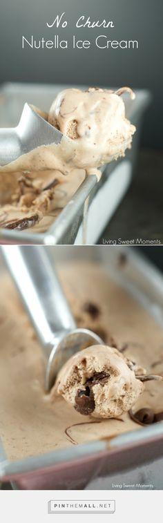 No Churn Nutella Ice Cream - Only 4 simple ingredients are needed to make this delicious ice Cream with swirls of Nutella in every bite. Perfect for summer.